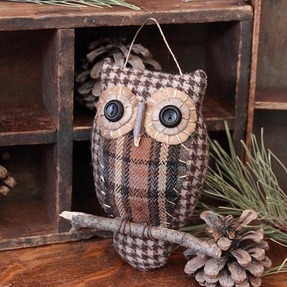 Primitive Owl Folk Art Ornie Primitive Decor Owl Decoration