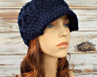 Navy Blue Newsboy Hat Chunky Knit Hat Womens Hat Blue Hat Navy Hat Blue Beanie - Amsterdam Cable Beanie - Womens Accessories