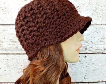 Crochet Hat Womens Hat Brown Hat Brown Newsboy Hat - Jockey Cap in Chocolate Brown - Crochet Newsboy Hat Crochet Hat - Womens Accessories