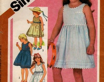 1983 Uncut GIRLS' SUNDRESS Pattern SIMPLICITY #5950 Size 5 Tucked Skirt Sleeveless Vintage Sewing
