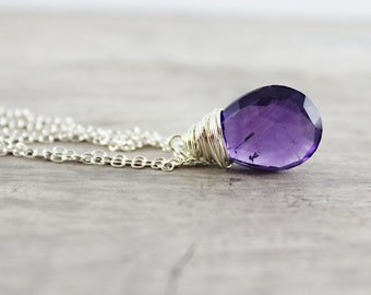 Amethyst Necklace, Gemstone Necklace, Sterling Silver Necklace, Dark Purple Necklace, Large Pendant Necklace, Wire Wrap Necklace, Violet
