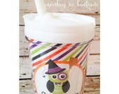 Toddler everlasting halloween tumbler with straw - witch owl design - festive toddler kids cup for halloween - party favor - personalized
