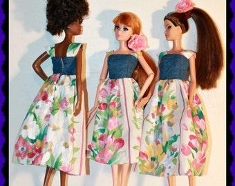 Handmade Barbie Doll dress Barbie Clothes - Floral Denim Sundress