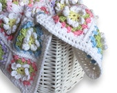 Granny Square Baby Afghan. Crochet Flower Baby Wrap. Car Seat Lap Blanket. Infant Girl Security Lovey. Newborn Nursery Keepsake Blankie