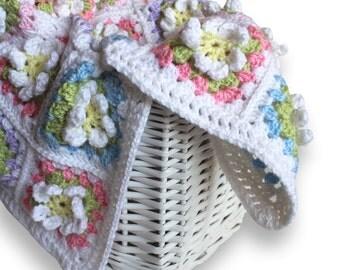 Granny Square Baby Afghan. Crochet Flower Baby Wrap. Car Seat Lap Blanket. Infant Girl Security Lovey. Newborn Nursery Keepsake Blankie