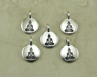 5 TierraCast Round Buddha Charms > Zen Yoga Buddhism Stampable Spiritual - Silver Plated Lead Free pewter - I ship Internationally 2407