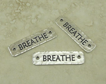 3 TierraCast Breathe Link Bars > Meditation Zen Yoga Spiritual Leather - Fine Silver Plated Lead Free Pewter - I ship Internationally 3189