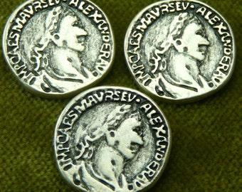 Ancient Alexander Replica Coin Buttons Antique Silver  I-14