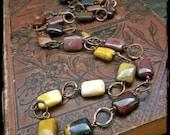 Mookaite necklace, Australian moukaite jasper beads Forged copper hoops Metalwork - Earth Tone