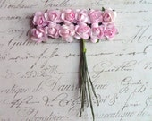 Vintage Style Soft Pink Paper Roses Wired, Set of 12