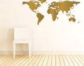 World Map Wall Decal - Map Decor - Map Decal - Map Sticker - Map Wall Art - wd1079