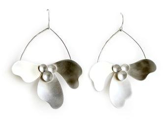 Sterling Silver Statement Earrings - Botanical Dangles # 4