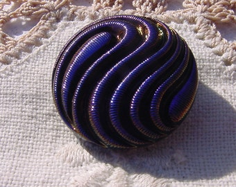 Indigo Blue Paisley Swirls Czech Glass Button