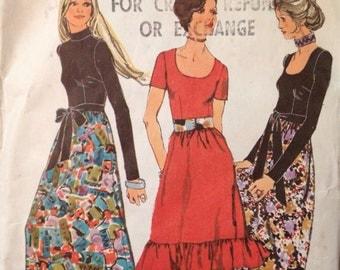 1970's Vintage Simplicity 9602 Pattern - Boho Maxi Dress Pattern