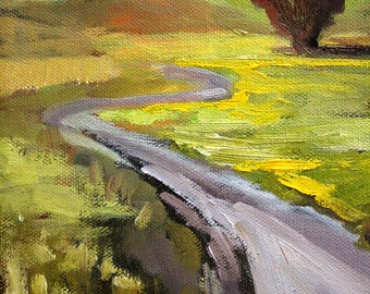Original Landscape Oil Painting, Small 6x8 on Canvas, Country Road, Rural Scene, Meadow Prairie, Green, Yellow, Gold, Brown, Wall Decor