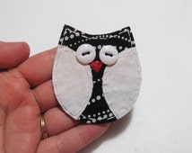 Owl Applique, Owl Scrapbooking Embellishment, Fabric Owl, Owl Embellishment, Scrap Fabric Owl, Scrapbook Owl, Patch, READY to SHIP