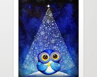 Christmas Owl - Christmas Decor - Christmas Wall Art - Christmas Tree Snow - Snowy Christmas Blue Silver White - Winter Art Print