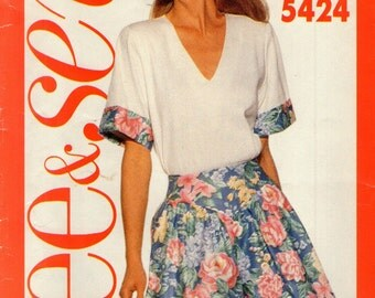 BUTTERICK 5424 See & Sew  -Simple Summer Top and Full Shorts  Like Culottes