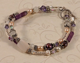Double Strand Purple Pink Gemstone Bracelet, February Birthstone Amethyst, Pearls, Swarovski Crystals, Moonstone, Sterling Silver BFAI