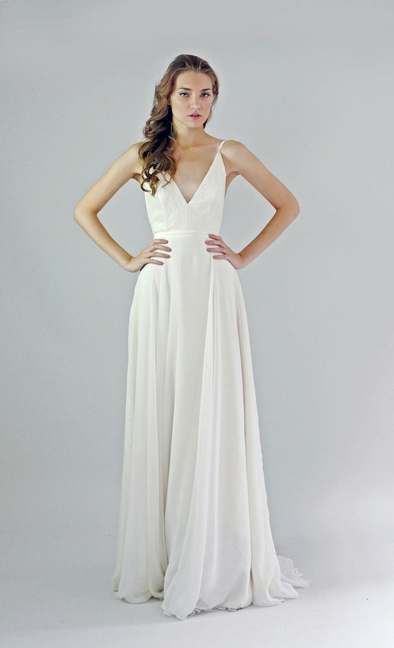 Items similar to v neck open back silk chiffon wedding for Etsy dresses for weddings