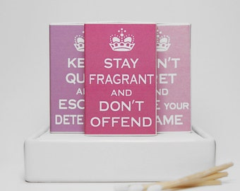 Matchbox joke gift set -- Keep Calm and Carry On spoof. Cute and funny gift. Set of three matchboxes. Dippylulu classics.