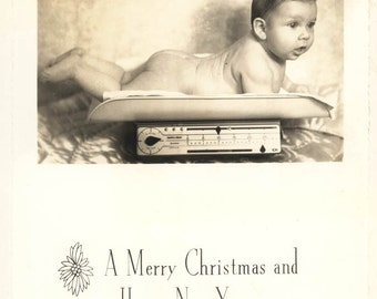 vintage photo Bare Baby weighed on Scale Merry Christmas