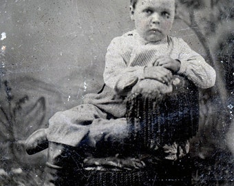 vintage photo Little Boy Stephen Lee Monroe tintype Boots rural Clothing