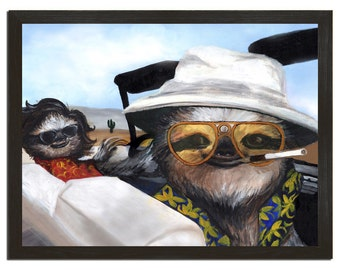 Wall Art, Sloth Vegas, Sloths, Funny Sloth Print 18x24 Print