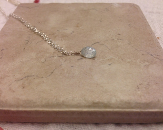 Milky Aquamarine March Birthstone Necklace