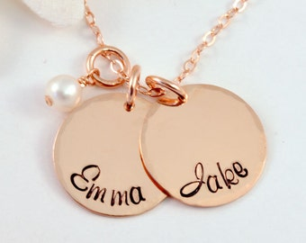 Dainty Rose Gold Mother's Necklace, Personalized Necklace, Name Necklace,Gift for Mom, Rose Gold Necklace