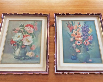 Arts & Crafts Mission Style Framed Antique Lithograph Prints, Retro Cottage Wall Art, 1930s Pretty Still Life Flower Art, Poppies and Roses