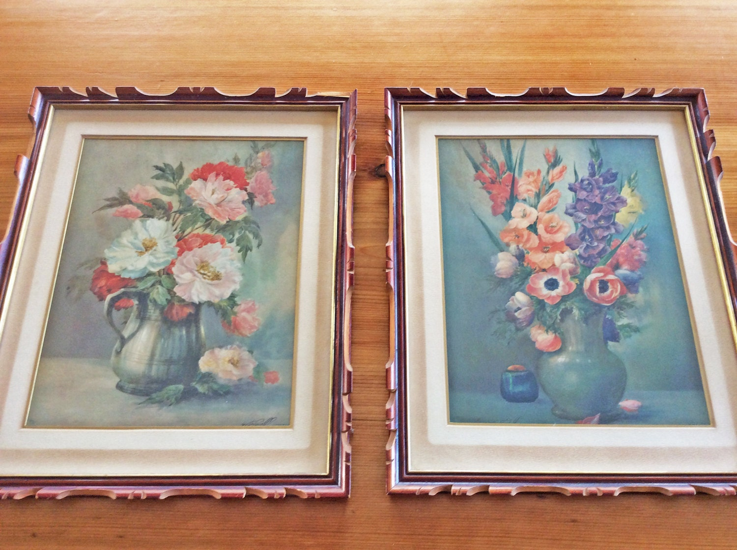 Antique framed prints arts crafts mission style wood for Mission style prints