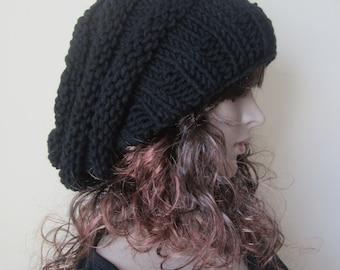 BLACK BEEHIVE BEANIE,  chunky beanie, slouchy beanie, winter hat, chunky hat, slouchy hat,  chunky slouchy beanie, winter accessories