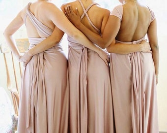 Fiercely Perfect All Custom Radical Thread Infinity Maxi Length Dress Multiway Convertible Dresses Rosegold Blush Rose Champagne Taupe Sage