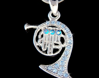 Swarovski Crystal Baby Blue Brass FRENCH HORN trumpet cornet charm Chain Necklace Jewelry Musician Musical Instrument Christmas Gift New