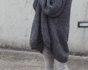 Over sized cardigan, Gray sweater, gray slouchy knit sweater, puff sleeve, long sweater cardigan