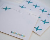 Airplane Personalized Stationery or Thank You Cards and Sticker Gift Set