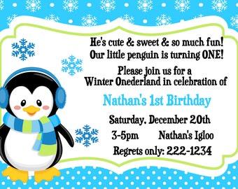 Winter Wonderland Invite. Onederland Invite. Printable. 4x6. Penguin. Snowflake. Winter. Birthday Invitation. First Birthday.  Girl or Boy