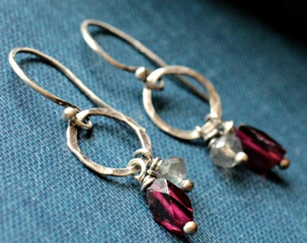 Garnet, Labradorite, Sterling Silver Earrings - EMBERS AND ASHES