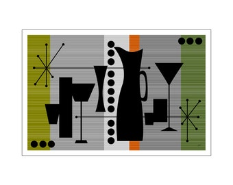 Drink Art Print Mid century Modern Cocktail Culture Inspired Design in Various Colors Sizes & Papers
