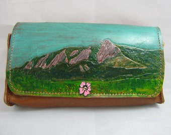 Leather Clutch Purse - Mountain Vista - Boulder Colorado