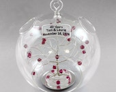 40th Anniversary Gift Personalized Ornament Ruby Anniversary Swarovski Crystal Elements in Silver Gold Copper