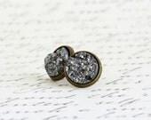 Grey Faux Druzy Earrings, Brass Post Earrings, Dark Grey Sparkle Stud Earrings, Faux Druzy Earrings, Glitter Earrings, Slate Grey