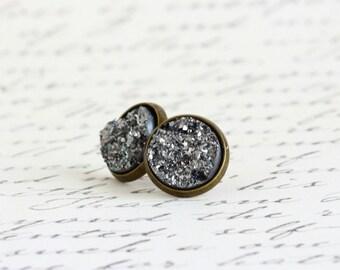 Grey Faux Druzy Earrings - Druzy Post Earrings - Grey Earrings - Faux Druzy Earrings - Glitter Earrings - Slate Grey - Stocking Stuffer Gift