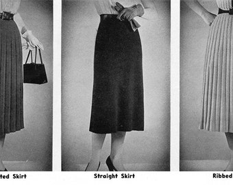 1950s Vintage Knit Skirt Patterns - THREE Styles, 7 sizes!! Pleated, Straight and Ribbed - Digital PDF E-Book