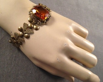 Stunning 1920s, 1930s Gatsby  Open Backed Large Topaz Glass Stone, Brass Filigree