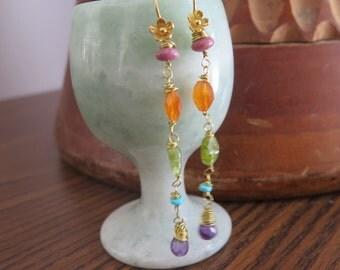 Earrings - Stone -  Gold Filled Flower Hooks Long Dangly - Rainbow Gemstones - Crystal - Teardrop - Beaded Colorful Womens Bohemian Jewelry