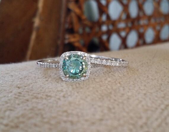 Halo Teal Moissainte Diamond Ring Gemstone Engagement Ring