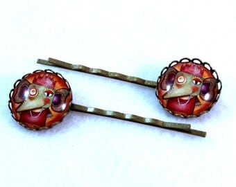 Indian Elephant Hairclips Bobby Pins, Elephant Art Hair Clips Bobbypins, Gift for Girl Woman Teen Friend, Bronze, Red Purple