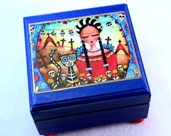 Small Jewelry Box, Frida and Black Cat Art, Wood Trinket Keepsake Box, Day of the Dead Art Print, Decoupaged, Frida Art, Blue Red